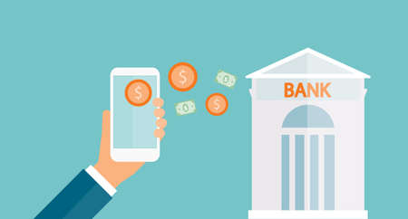 mobile banking: business money transfer on mobile and business mobile banking concept