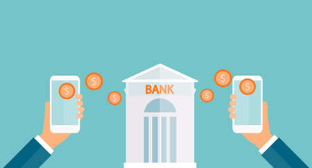 transfert d'argent d'affaires sur le concept mobile et les services bancaires mobiles d'affaires