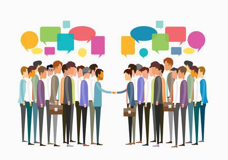 grupo de reunión de personas de negocios y el concepto de comunicación empresarial Ilustración de vector