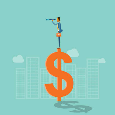 vision concept: business vision concept and business man standing on money Illustration