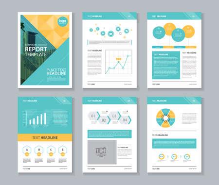 perfil de la empresa, el informe anual, folleto, folleto, página plantilla de diseño, y la información de negocio plantilla de elemento de gráfico