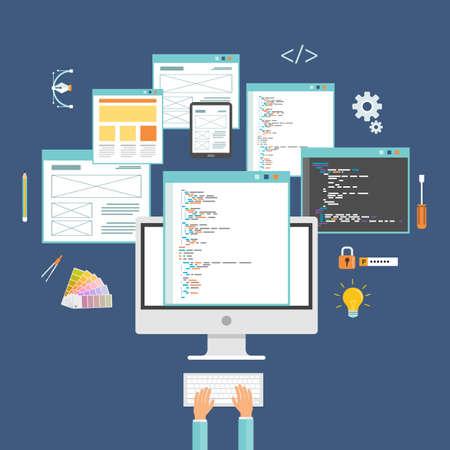 developer: web design and web developer working on monitor concept