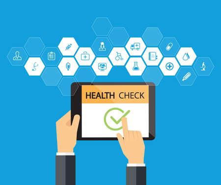 chequeo de la línea en el dispositivo de la tablilla médica y de la salud concepto