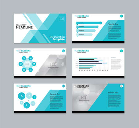 blue page layout design template for presentation and  brochure ,Annual report,  flyer and book  .with infographic elements design Vettoriali