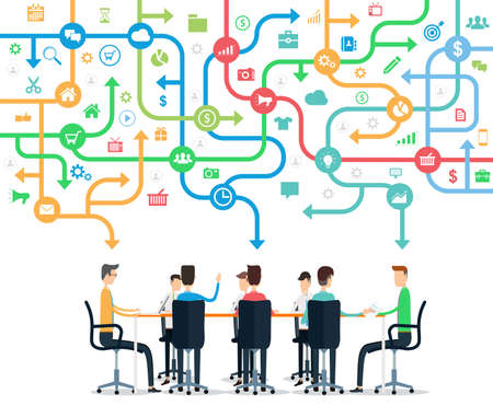 team group: Group business team working meeting and brainstorming concept Illustration