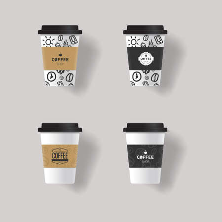 Coffee Cup Design Template Mock Up With Patterns Texture Background ...