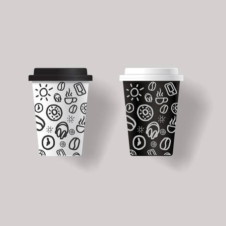 coffee cup design template mock up with patterns texture background design