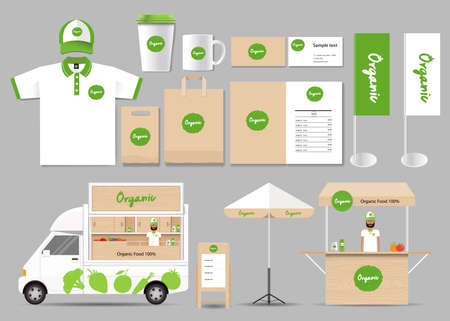 food shop: organic food branding mock up template with design .corporate identity for restaurant and food shop Illustration