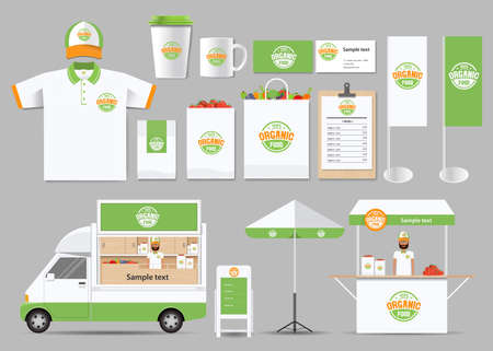 organic food branding mock up template with design .corporate identity for restaurant and food shop Stock Illustratie