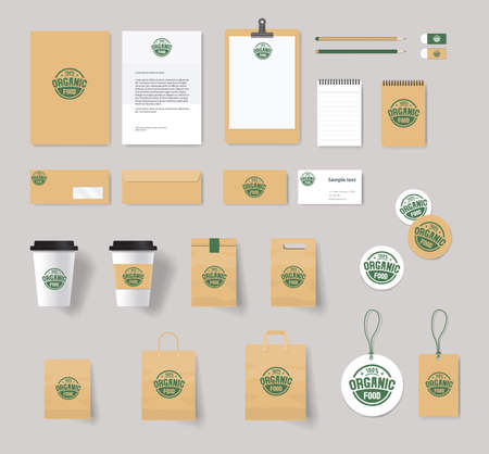 food shop: organic branding identity mock up template with design.stationary for restaurant and food shop