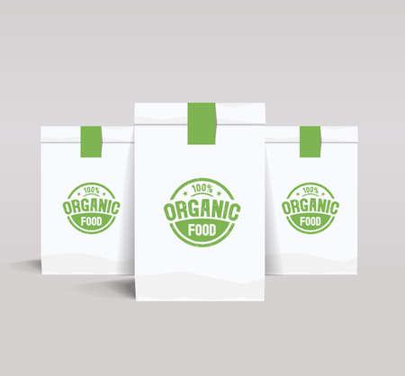 food shop: set paper branding package design mock up template for organic food and restaurant shop with organic food Illustration