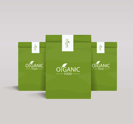 package design: set paper branding package design mock up template for organic food and restaurant shop with organic food Illustration