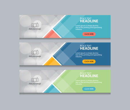 flat abstract web banner design template background  イラスト・ベクター素材