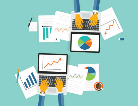 finance report: flat vector business investment and finance banner concept and paper graph report