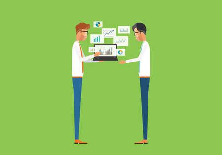 フラット ベクトル ビジネス人々 分析グラフ レポートと投資計画コンセプト