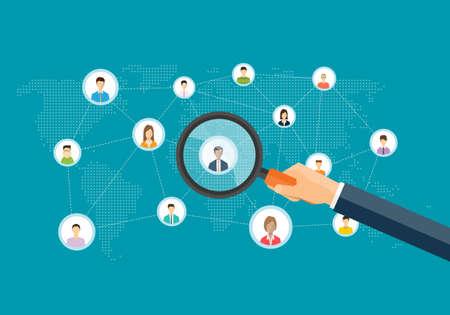 flache Business-Marketing-Forschung Konzept und Menschen auf sozialen Netzwerk-Verbindung für Online-Geschäft. Vektorgrafik