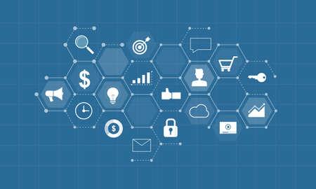 contenidos digitales de negocios para la comercialización del concepto de conexión en línea y de negocios en la red social del concepto del fondo