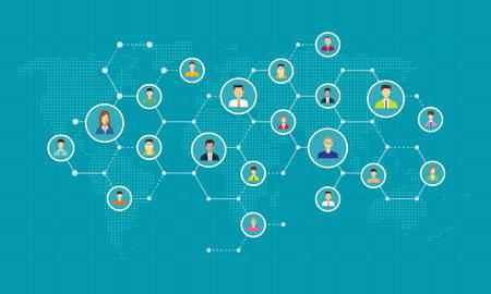 connexion réseau social en ligne, fond, concept d'affaires