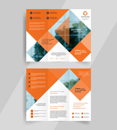 business tri-fold brochure layout design ,vector a4  brochure  template  イラスト・ベクター素材