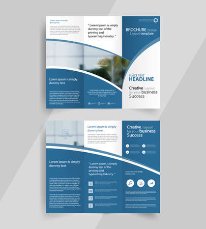 business tri-fold brochure layout design ,vector a4  brochure  template Ilustração