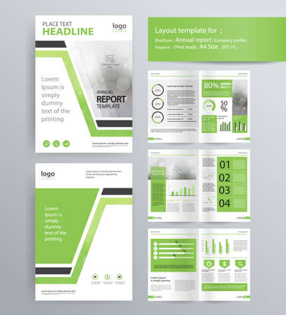 page layout for company profile, annual report, brochure, and flyer layout template. with info graphic element. and vector A4 size  for editable Vettoriali