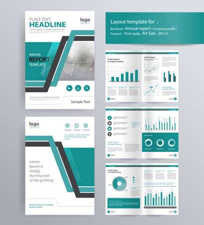 pagina-indeling voor bedrijfsprofiel, jaarverslag, brochure en flyer lay-out template. met info grafisch element. en vector A4-formaat voor bewerkbare Stock Illustratie