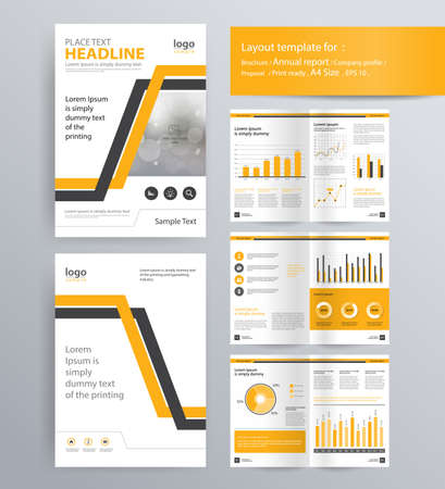 page layout for company profile, annual report, brochure, and flyer layout template. with info graphic element. and vector A4 size  for editable Illusztráció