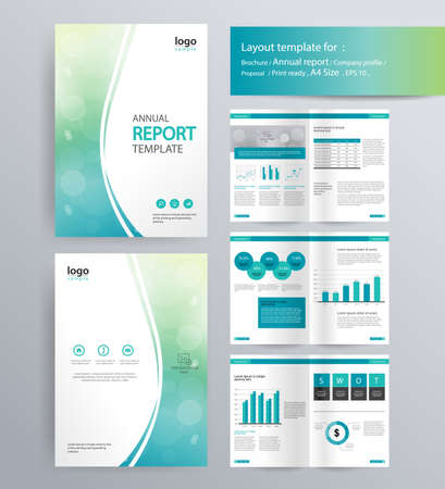page layout for company profile, annual report, brochure, and flyer layout template. with info graphic element. and vector A4 size  for editable Иллюстрация