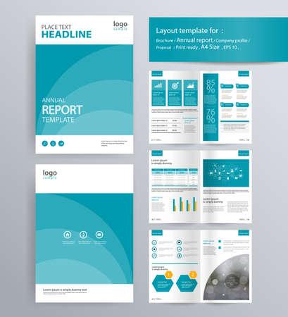 会社概要、年次報告書、パンフレット、チラシのレイアウト テンプレートのページ レイアウト。情報グラフィックの要素。A4 サイズをベクトルと編  イラスト・ベクター素材