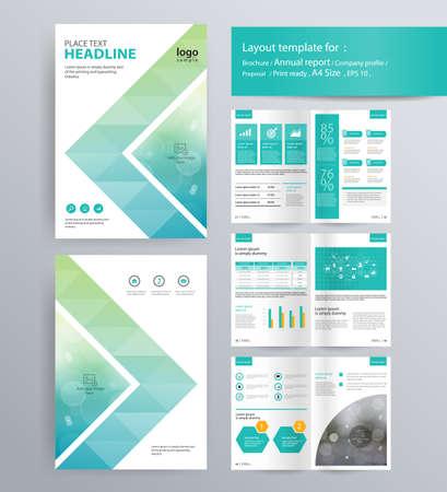 Układ strony do profilu firmy, rocznego sprawozdania, broszury i ulotki szablonu układu. Informacje o element graficzny. i wielkość wektora A4 do edycji