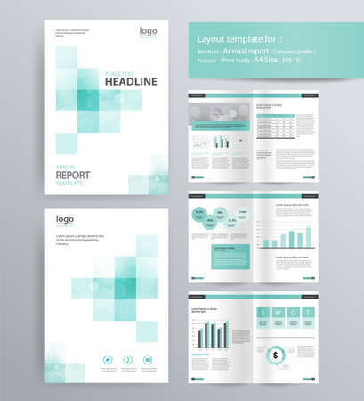 page layout for company profile, annual report, brochure, and flyer layout template. with info graphic element. and vector A4 size  for editable  イラスト・ベクター素材