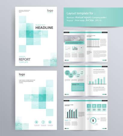 diseño de la página de perfil de la empresa, el informe anual, folleto, y la plantilla de diseño de volante. con información de elemento gráfico. y tamaño A4 vector para editable Ilustración de vector