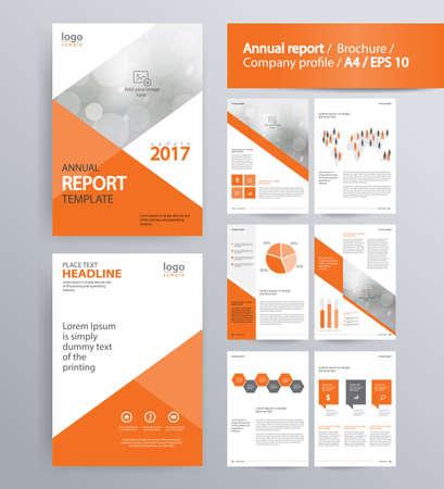 회사 프로필, 연간 보고서, 브로셔 및 전단지 레이아웃 템플릿 페이지 레이아웃. 정보 그래픽 요소. 편집 및 벡터 A4 크기