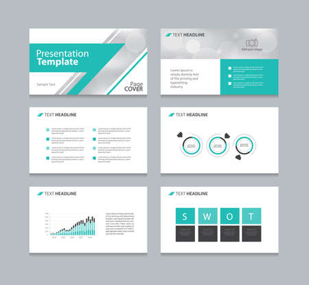 slide show: Page layout design for presentation and brochure and book template with infographic elements design Illustration