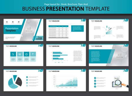 show time: Page layout design for presentation and brochure and book template with infographic elements design Illustration