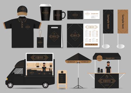 corporate branding voor koffie winkel en restaurant identiteit mock-up template. card .menu.t- shirt.vector Stock Illustratie