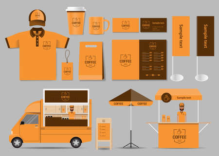 corporates: corporate branding for coffee shop and restaurant identity mock up template. card .menu.t- shirt.vector