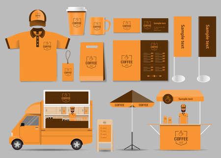 marca corporativa para la cafetería y la identidad restaurante maqueta plantilla. Tarjeta .menu.t- shirt.vector
