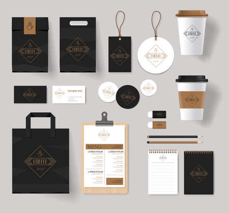 brands: corporate branding identity mock up template for coffee shop and restaurant with card, menu, packaging,vector for editable