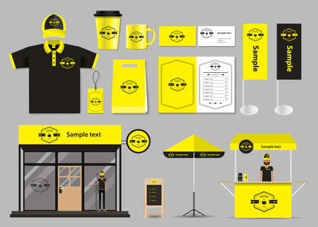 corporate branding for coffee shop and restaurant identity mock up template. card .menu.t- shirt.vector