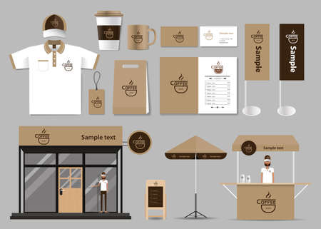 business shirts: corporate branding for coffee shop and restaurant identity mock up template. card .menu.t- shirt.vector