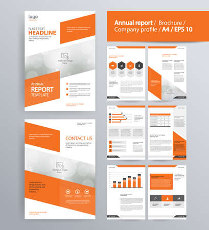 annual report: page layout for company profile, annual report, brochure, and flyer layout template. with info graphic element. and vector A4 size for editable Illustration