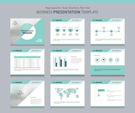 Seitenlayout-Design-Vorlage für Business-Präsentation Seite mit Seitenabdeckung Hintergrund Design und Infografik Design-Elemente Vektorgrafik