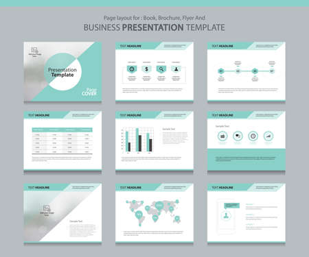 Page layout design template for business presentation page with page cover background design and infographic elements design