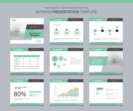 elements design: Page layout design template for business presentation page with page cover background design and infographic elements design