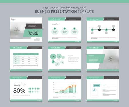 Pagina lay-out ontwerp sjabloon voor zakelijke presentatie pagina met pagina dekken achtergrond ontwerp en infographic elementen ontwerp Vector Illustratie