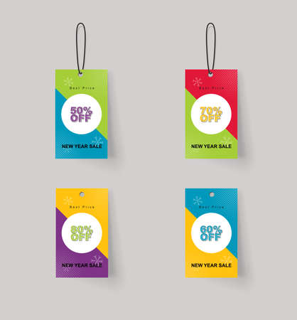 full color: vector set of color full price and sale tags designe
