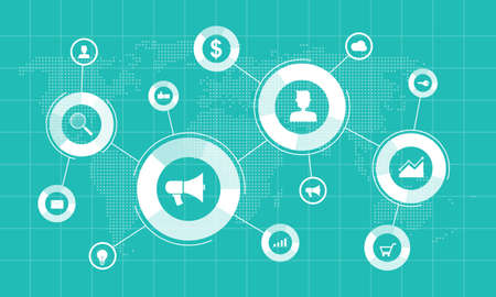 business internet marketing online connection concept and business on social network background concept