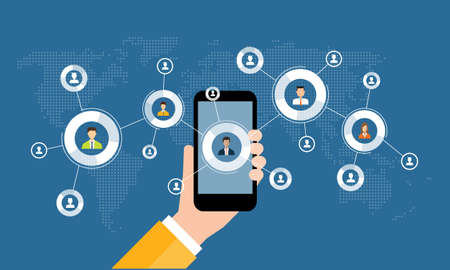 marketing online: business online marketing on mobile concept and social network connection background