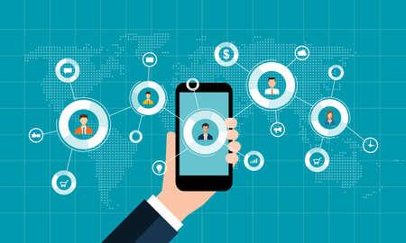 le marketing d'affaires en ligne sur le concept mobile et arrière-plan de connexion de réseau social